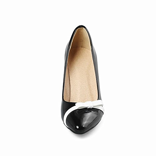 Carolbar Womens Pointed Toe Bows Assorted Colors High Heels Pumps Shoes Black LqV9EhPFp1