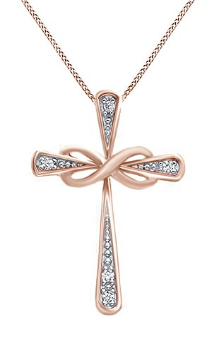 White Natural Diamond Accent Two Tone Infinity Cross Pendant Necklace 14K Rose Gold Over Sterling Silver