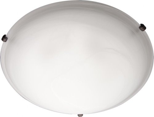 Maxim 2681MROI Malaga 3-Light Flush Mount, Oil Rubbed Bronze Finish, Marble Glass, MB Incandescent Incandescent Bulb , W Max., N/A Safety Rating, Glass Shade Material, Rated Lumens - Fancy Swirl Dome