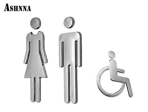 Ashnna Restroom Sign, Toilet Sign, Bathroom Sign, Acrylic Adhesive Backed, Men's and Women's, Wheelchair, Unisex Bathroom Door Symbol (Silver) -