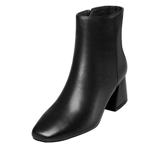 Miss Zapatos Cremallera Y Alto Black Para Otoño Tacón Botas Con De Li Gruesos Mujer Invierno Cuero Botines rTBrwHFx