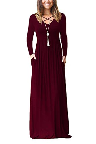 EZBELLE Women's Long Sleeve Maxi Dresses with Pockets Plain Loose HighWaisted Long Dresses Burgundy X-Large (Full Empire)