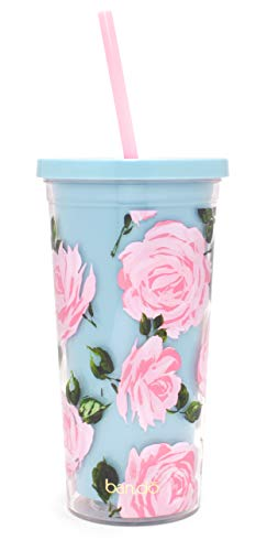 Bando Floral Insulated Sip Sip Tumbler with Reusable Straw, 20oz (Rose -
