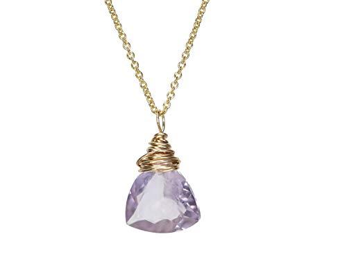 Amethyst Gemstone Trillion Cut Pendant Necklace- February Birthstone- 17