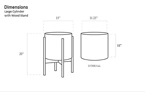 Case Study Ceramic Planter with Wood Stand - Large - White by Modernica