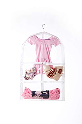 Clear Kid's Dance Costume Bag, Children's Ballet &Recital Garment Bag,Versatile Dance Outfit Hanging Garment Bag Dream Duffel with 3 Large Clear Zipper Pockets for Dance Competitions,Travel
