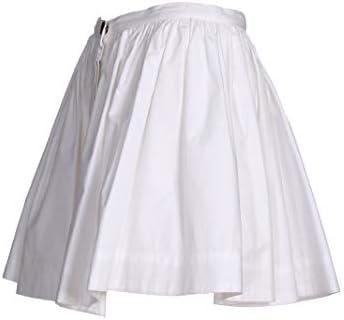 Weili Zheng Mini jupe blanche en Popeline de coton, fermeture avec bouton de vue et boutons à pression dissimulés, fond évasé