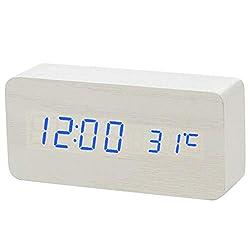 Little lemon 2019 New Voice Control Alarm Clock, Digital Thermometer Wooden Backlight Wood Retro Glow Clock Table Luminous Alarm Clocks,Blue Number White