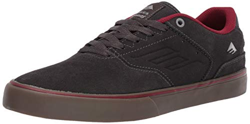 Emerica Men's The Reynolds Low Vulc Skate Shoe, Dark Grey/RED, 8.5 Medium US