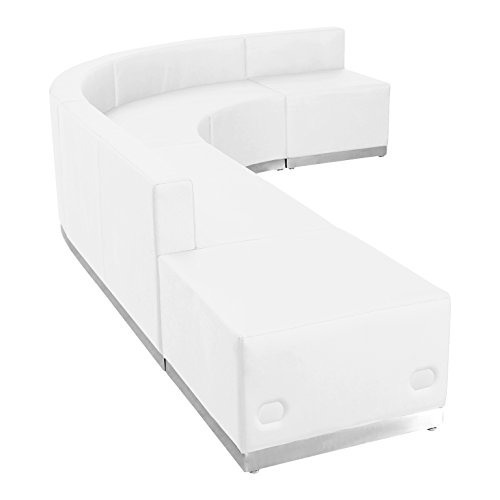 Flash Furniture HERCULES Alon Series Melrose White Leather Reception Configuration, 5 Pieces
