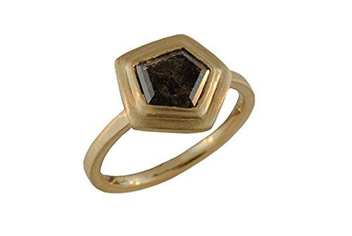 - Natural Pentagon Mocha Diamond, Rustic Mocha Diamond, Abstract Mocha Diamond, 14kt Yellow Gold Ring, Gevani Jewelry