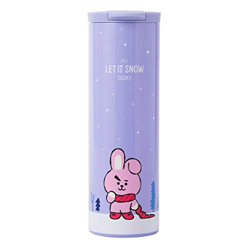 BT21 Official Merchandise with Line Friends - COOKY Character Insulated Stainless Steel Travel Coffee Mug Tumbler with Lid
