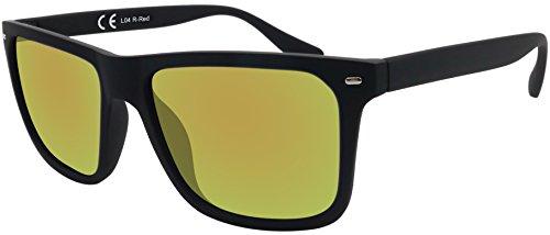 Original La Optica Verspiegelte UV400 Herren Sonnenbrille Wayfarer Eckig - Farben, Einzel-/Doppelpacks (Einzelpack Gummiert Schwarz (Gläser: Grau))