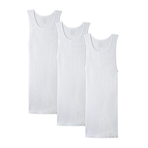 Fruit of the Loom Men's A-Shirt 3 Pack, White, Medium(Pack of 3)
