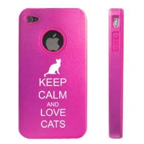 Apple iPhone 4 4S Hot Pink D5577 Aluminum & Silicone Case Cover Keep Calm and Love Cats