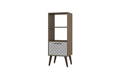 (Manhattan Comfort 2AMC161 Sami Series Colorful Modern Bookcase Charcoal/White)