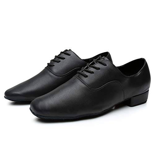 ★QueenBB★ Men's Breathable Lace-Up Dancing Leather Latin Shoes for Men Salsa, Tango,Ballroom,Viennese Waltz,Jazz Shoe Black ()