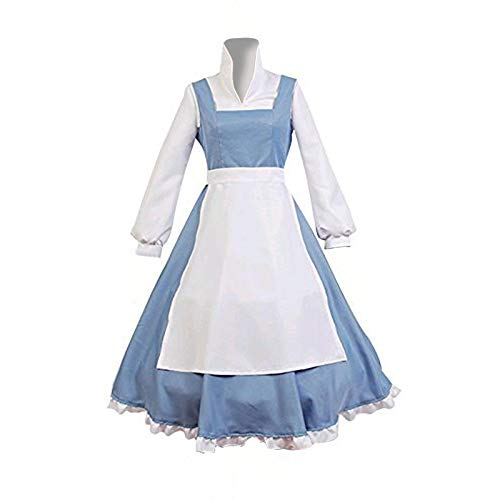 COSSHOW Womens Halloween Beauty and The Beast Belle Maid Lolita Dress Anime Party School Uniform Cosplay Costumes (S)]()