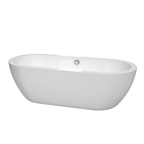 Wyndham Collection Soho 72 inch Freestanding Bathtub for Bathroom in White with Polished Chrome Drain and Overflow Trim