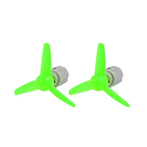 Vane Motor Rotary (Aexit 2 Pcs Electrical equipment DC 6.0V 0.13A 21000RPM Motor 3-Vanes 80mm Rotary Dia Sharp Propeller Green)
