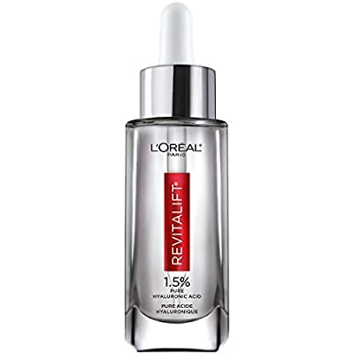 Hyaluronic Acid Serum by L'Oreal Paris, Revitalift Derm Intensives Pure Hyaluronic Acid Anti-Aging Face Serum for Visibly Plumped Skin and Reduced Wrinkles, Paraben Free, Non Comedogenic, 1.0 oz.