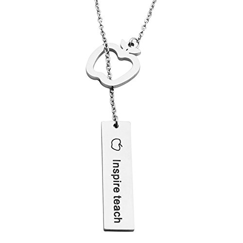 MAOFAED Teacher Necklace Apple Pendant Lariat Style  Necklace,Teacher Gifts (Bar Lariat Necklace)