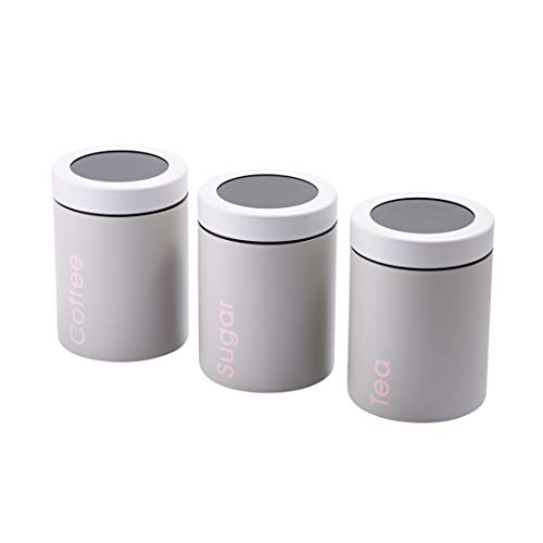 Adzukio Modern Stylish Canisters Sets for Kitchen Counter, 3-piece canister for Tea Sugar Coffee Food Storage Container Multipurpose (Light Grey) ()