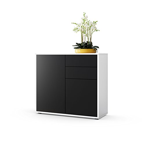 commode buffet ben corps en blanc mat fa ades en noir mat int rieur maison. Black Bedroom Furniture Sets. Home Design Ideas