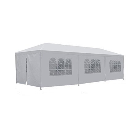 Smartxchoices White Gazebo Canopy Tent with Removable Sidewalls and Windows for Wedding Party Camping Gazebo BBQ Pavilion Canopy Sun Shelter Cater Events ()
