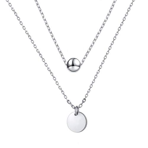 """(I'S ISAACSONG 925 Sterling Silver Minimalist Necklace – Tiny Floating Dot, Round Circle Disc Pendant Double Layer Choker Necklace for Women and Girls, 16""""-18"""" (Tiny Bead & Round)"""