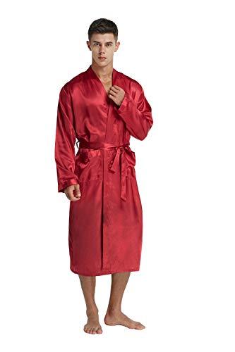 284ecadda5 Firecos Satin Robes for Men Silk Lightweight Kimono Robe Sleepwear for Men