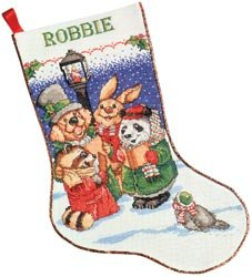Design Works Animal Carolers Crafts Counted Cross Stitch Kits Christmas Stocking 5408