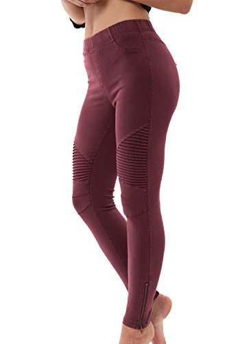 LAINAB Womens Biker Slim Side Zipper Leggings Joggers Pull On Ankle Pants Wine XL ()