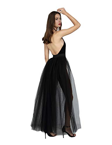 Women Sexy Mesh 4 Layers Long Tulle Skirt Floor Length Wedding Party Tutu Skirt (Black)