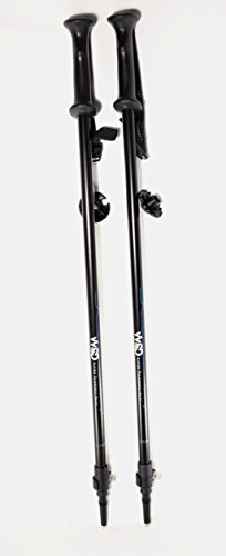 WSD Ski Poles Telescopic Adjustable Adult Downhill/Alpine Collapsible Pair with Baskets WSD, Black New, 115 cm - 135 cm (45-53) by WSD