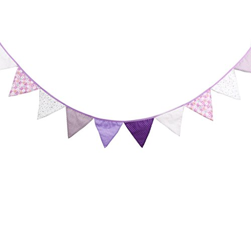 Multi Colored Fabric Bunting For Party Birthday Wedding Anniversary Celebration Baby Shower(Purple)