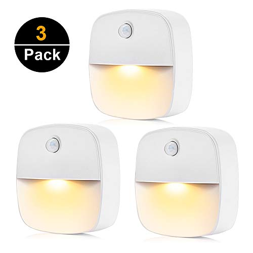 Wall Night Lights Motion Sensor Night Light Automatic Stick-On LED Light Battery Powered Closet Light for Bedroom, Bathroom, Kitchen, Hallway, Stairs, Energy Efficient, Compact 220v (3 ()
