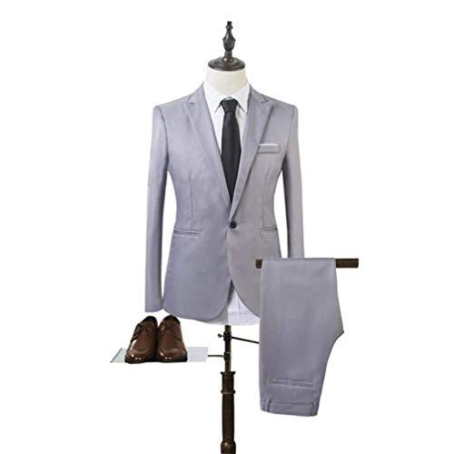 Inverno Grau Casual Lavoro E Fit Tinta Pant Sposa Ragazzi Aziendale Da One Unita Classiche Slim Autunno Blazer Moda Uomo Leisure Button Jacket Eqf1AA