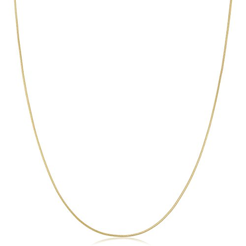 Kooljewelry 14k Solid Yellow Gold 0.6 mm Round Snake Chain Necklace (24 inch)