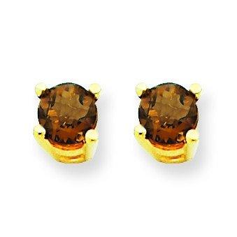 14k Yellow Gold 4mm Round Smokey Quartz Earrings (14k Gold Smokey Quartz)