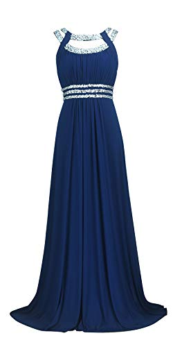 Licoco Women Sleeveless Beaded Semi-Formal Long Maxi Evening Gown Wedding Dress (Navy 70,XXL)