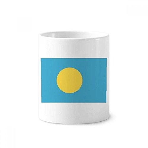 Palau National Flag Oceania Country Symbol Toothbrush Pen Holder Mug White Ceramic Cup 12oz