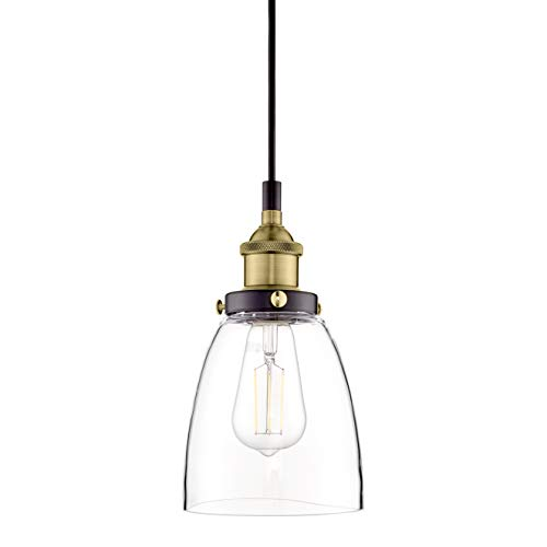 One Light Bar Pendant - Fiorentino Antique Brass Pendant Light - w/Clear Glass Shade - Linea di Liara LL-P281-ANT