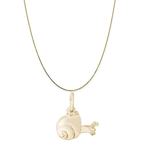 Rembrandt Charms 14K Yellow Gold Snail Charm on a 14K Yellow Gold Box Chain Necklace, - Gold Snail Charm 14k