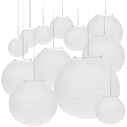 Vastar 12 Packs White Round Paper Lanterns with Assorted Sizes for Party Decorations, Party Lanterns for Decorating Wedding, Festivals, House or Office with 4 Different Sizes