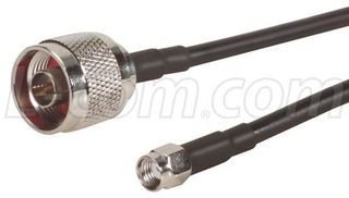 L-COM CA-RSPNMA020 CABLE ASSY, RP-SMA PLUG/N MALE, 195 SERIES, 20FT