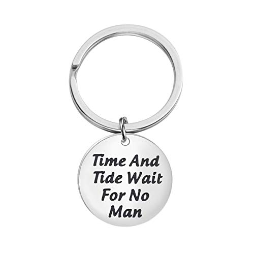 KUIYAI Time and Tide Wait for No Man Keychain Literary Quote Keychain Inspirational Gift (Keychain)