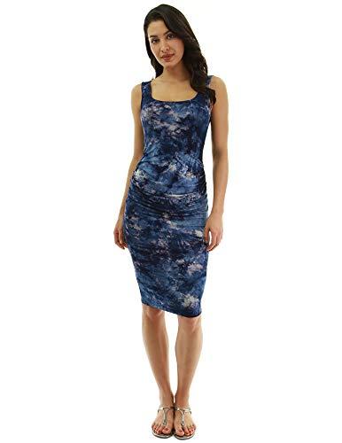 PattyBoutik Women Tie-Dye/Solid Sleeveless Dress (Blue, Purple and Gray 49 Medium)