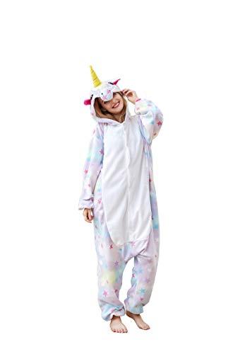 Flora Huxley Unisex Adult Star Unicorn Onesies Women Men Homewear Sleepwear Animal Cosplay Costumes Plus Size -