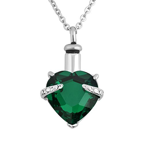 Birthstone May Green Pendant (CLY Jewelry Unbreakable Love Heart Crystal Pendant Birthstone May. Emerald Green Memorial Urn Necklace for Ashes Xmas)